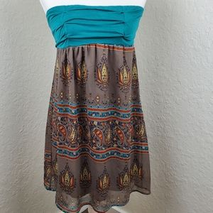 Lush SM Green Brown Paisley Boho Strapless Dress